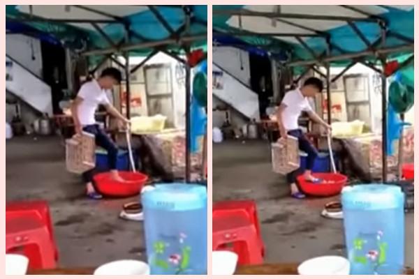 粤男著拖鞋用脚洗菜   食客一旁看呆想吐