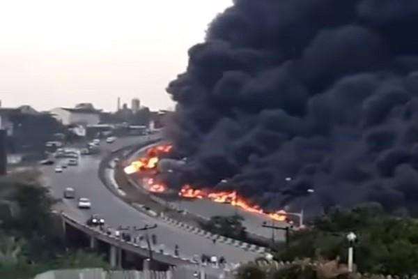 慘不忍睹!尼國油罐車路上爆炸 一輛接一輛爆至少9死