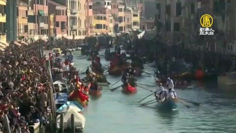 面具嘉年华 灯船绚亮水都威尼斯