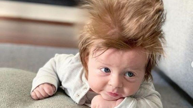 """""""怒发婴儿""""成网红 出生4个月当上产品代言人"""