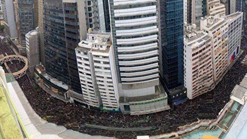 150萬港人反送中大遊行(高空俯覽視頻)