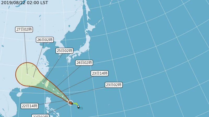 輕颱白鹿直奔台灣 估23日發海陸警報