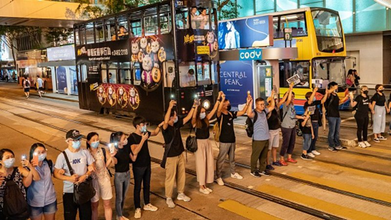 """组图:21万人链筑起""""香港之路""""反送中怒火越烧越旺"""