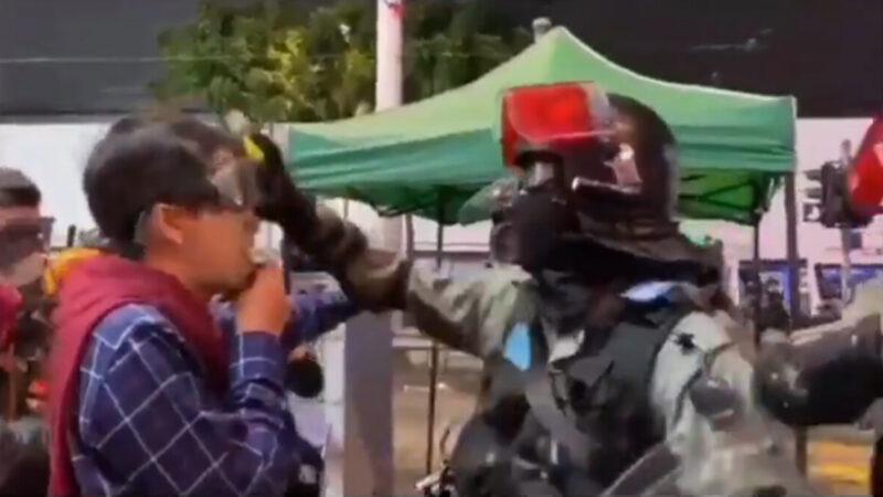 扯掉议员眼罩喷胡椒引爆舆论 港警谎称:他不听话