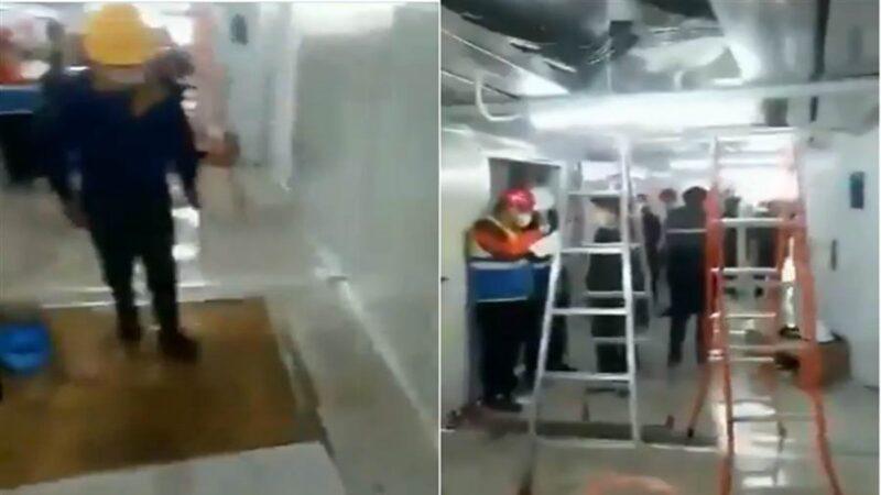 武汉一场雨 雷神山医院成水帘洞(视频)