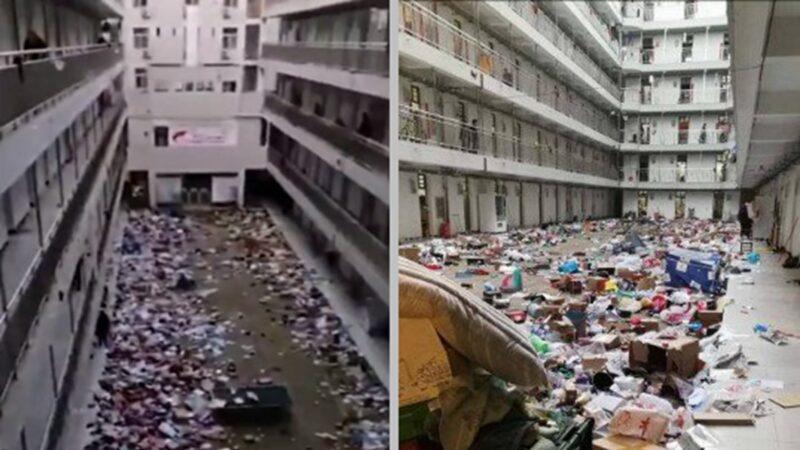 武漢十幾所高校被徵用 學生物品直接扔樓下(視頻)