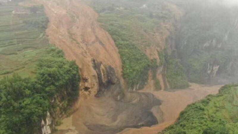 湖北恩施山體滑坡現堰塞湖 當局警告:隨時潰壩