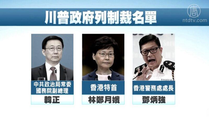 美制裁名單 傳韓正林鄭鄧炳強上榜