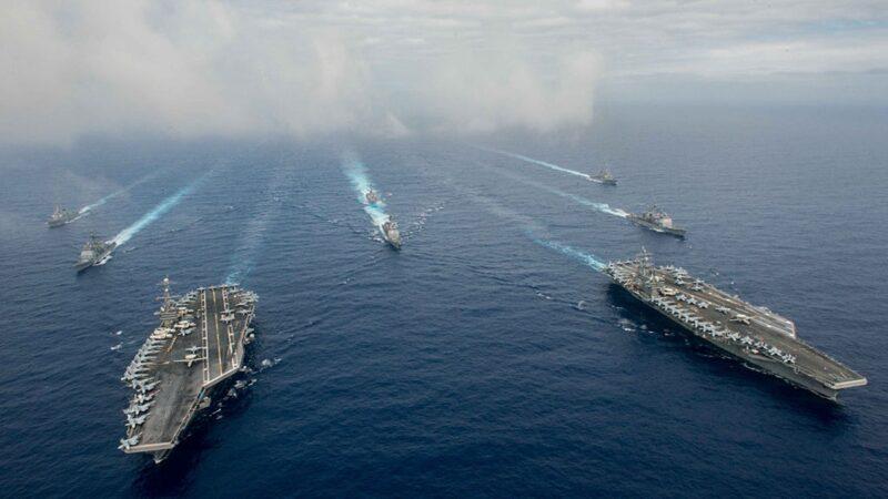 美中罕见南海同时军演 美军超豪华战阵亮相