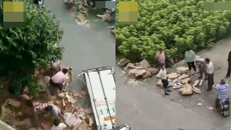 江苏盐城货车遇车祸 10吨猪肉被抢走7吨