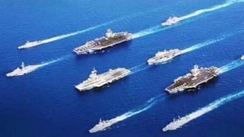 """向美英法联军致敬?""""建军节""""海报惊现美航母英军舰"""