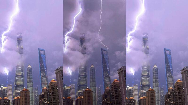 香港大抓捕當晚 閃電直轟「東方明珠塔」(視頻)