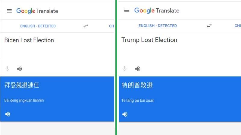 谷歌将拜登败选翻译成当选 共和党大佬怒轰吁制裁