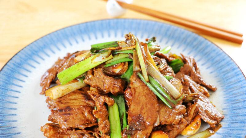 【美食天堂】鐵鍋炒蔥爆牛肉的做法~決不沾鍋的秘訣!