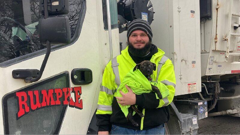 绝地救援!小狗遭弃险被压扁 垃圾车驾驶警觉救出