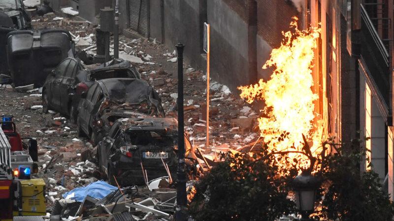 马德里瓦斯大爆炸 满街瓦砾碎片 已知3死11人伤