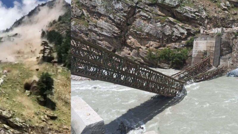 印度豪雨釀災 驚人落石瞬間砸毀橋樑(視頻)