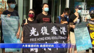 舉看板發傳單 洛港人捍衛香港新聞自由