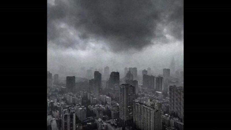 南京上海白昼突变黑夜 狂风暴雨齐来