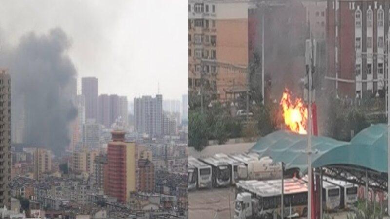 沈阳加气站天然气罐车着火 公交车也被烧(视频)
