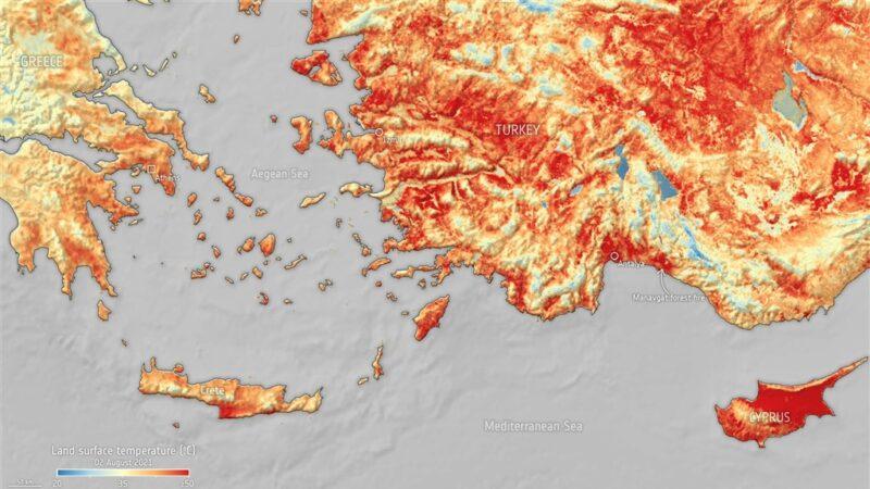 热浪袭南欧 土耳其与塞浦路斯地表温度飙破摄氏50度