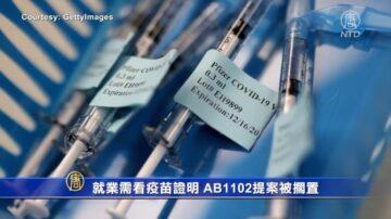 就业需看疫苗证明 AB1102提案被搁置
