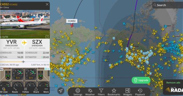 孟晚舟返回大陆航班不走寻常路线。(flightradar24截图)