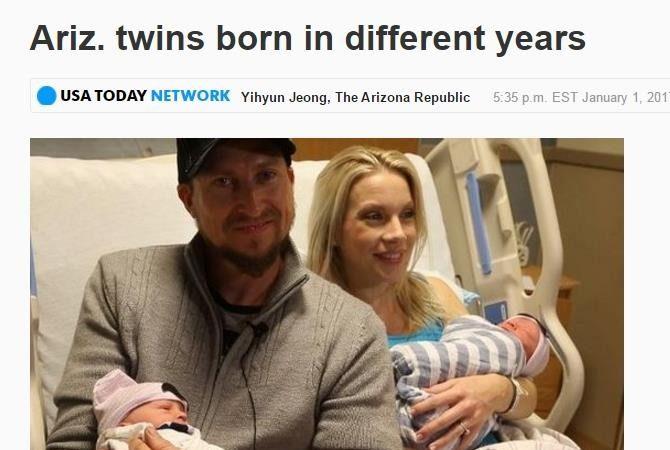 差11分钟 美双胞胎出生年分不一样
