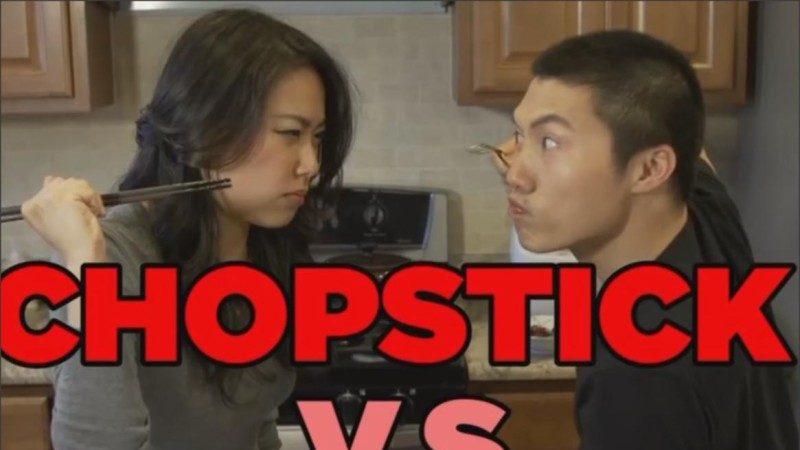 视频:叉子和筷子的对决