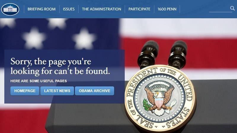 川普上任 白宫官网多个议题内容消失