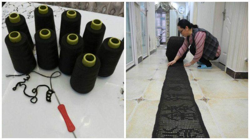 河南女教師5年織175米百家姓   欲申吉尼斯記錄