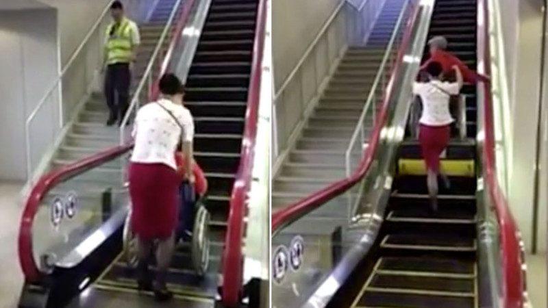 好棒啊!日本新型电动扶梯贴心设计 轮椅也能轻松搭乘