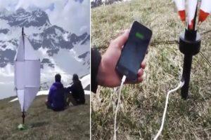 荒野露营再也不怕与外界失去联络啦!口袋装发电伞 有风就能给手机等充电