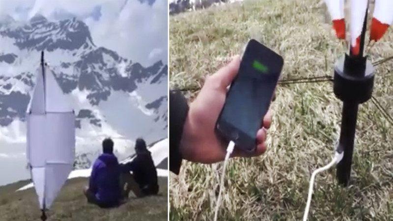 荒野露營再也不怕與外界失去聯絡啦!口袋裝發電傘 有風就能給手機等充電
