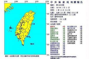 南台灣凌晨地震 最大震度6級