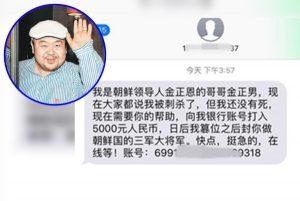 中国骗徒冒认金正男骗财 发简讯称未死求助