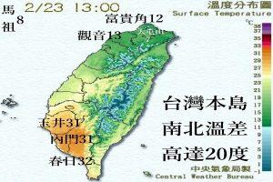 小小台湾 下午2时南北温差高达20度!