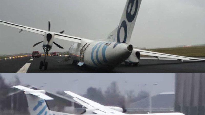 """强风中硬降 英国客机""""断腿""""机腹擦地着陆 乘客万幸无伤(视频)"""