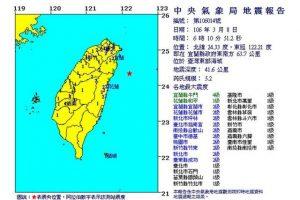 台湾东部外海5.2级地震 全台有感