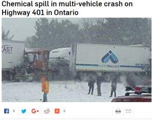 加拿大安省401高速连环车祸  化学泄露 居民疏散