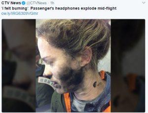 """""""我觉得要燃烧了"""" 飞机乘客耳机半空爆炸"""