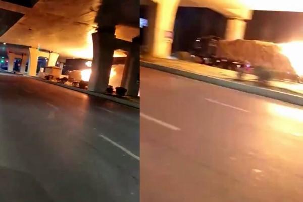 """山东惊现""""烈火战车"""" 货车起火马路狂奔"""