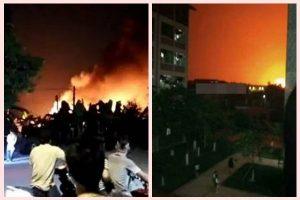 核爆嗎?廣東工廠突發大爆炸 火焰雲騰空數十米(組圖)