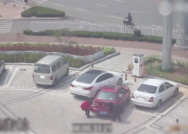 山東女司機停不進車位  試用手抬