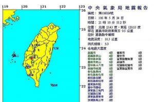 台湾嘉义五连震 地牛翻身 最大震级5.0
