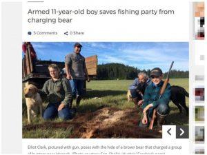 阿拉斯加州11岁男孩 开枪撃中棕熊救亲人