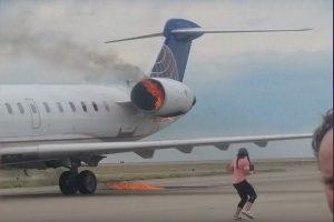 聯航客機降落丹佛機場 發動機大火無人傷亡