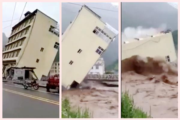 西藏強降雨河水暴漲 5層樓坍塌倒入河中(視頻)