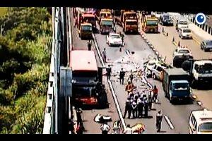 国道2号6车连环撞 大有司机当场身亡(视频)