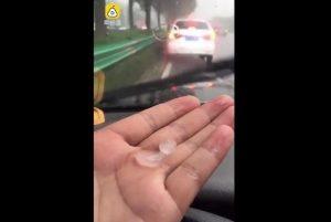 水深火热 上海徐家汇39.7℃高温 浦东下冰雹砸破车窗(视频)